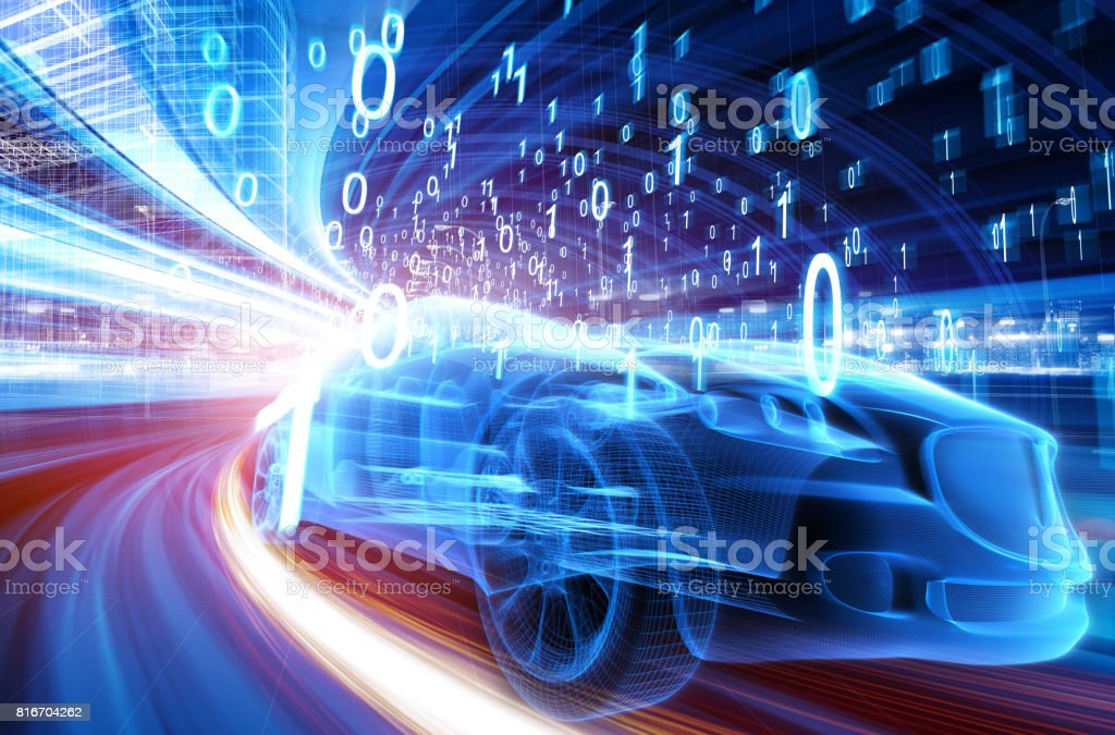 Sports Car speeding in Urban highway - foto stock