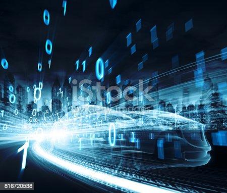 849624154 istock photo Sports Car speeding in Urban highway 816720538