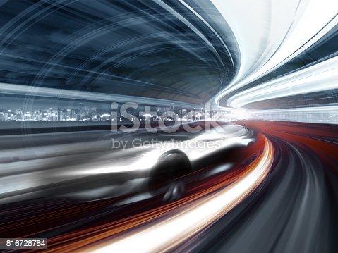 849624154 istock photo Sports Car speeding in Urban highway 816728784
