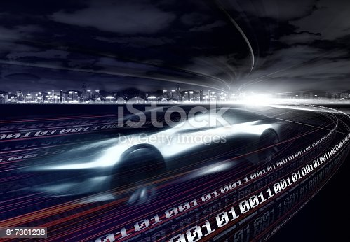 849624154 istock photo Sports Car speeding in Urban highway 817301238