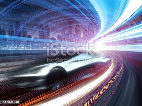 849624154 istock photo Sports Car speeding in Urban highway 817301248