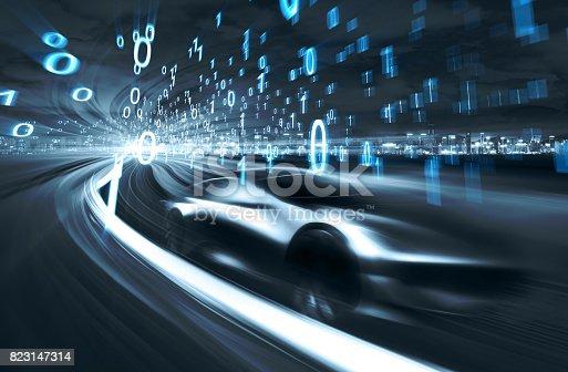 849624154 istock photo Sports Car speeding in Urban highway 823147314