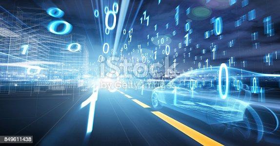 849624154 istock photo Sports Car speeding in Urban highway 849611438