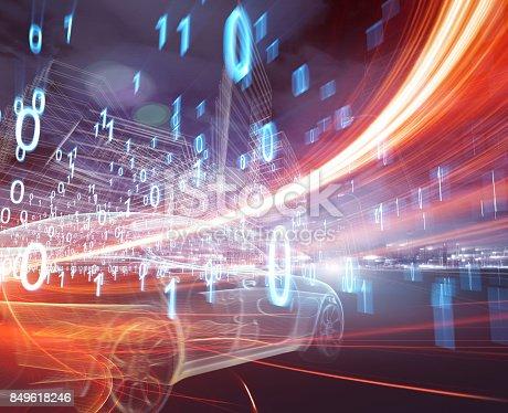 849624154 istock photo Sports Car speeding in Urban highway 849618246