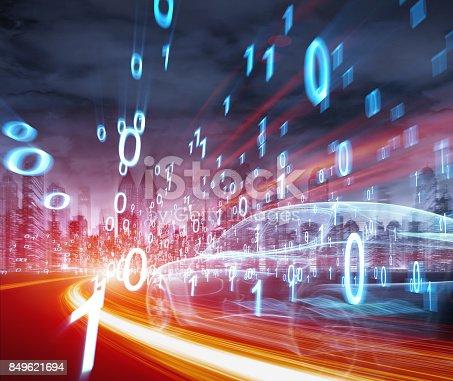 849624154 istock photo Sports Car speeding in Urban highway 849621694