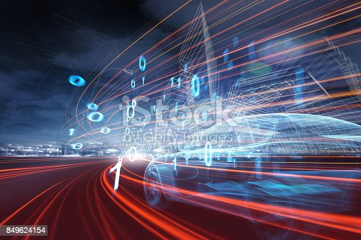 istock Sports Car speeding in Urban highway 849624154