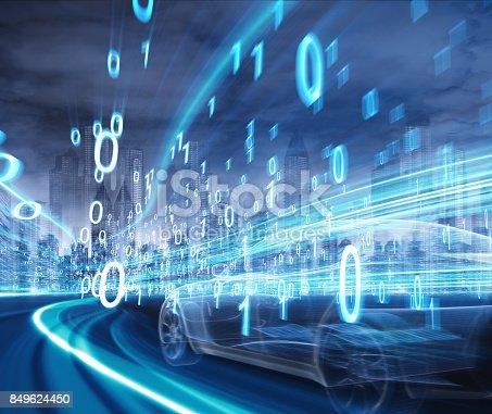 849624154 istock photo Sports Car speeding in Urban highway 849624450