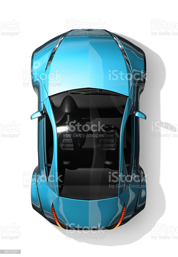 Sports car top view stock photo