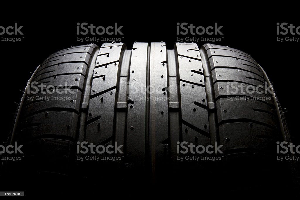 Sports car tyre profile close-up stock photo