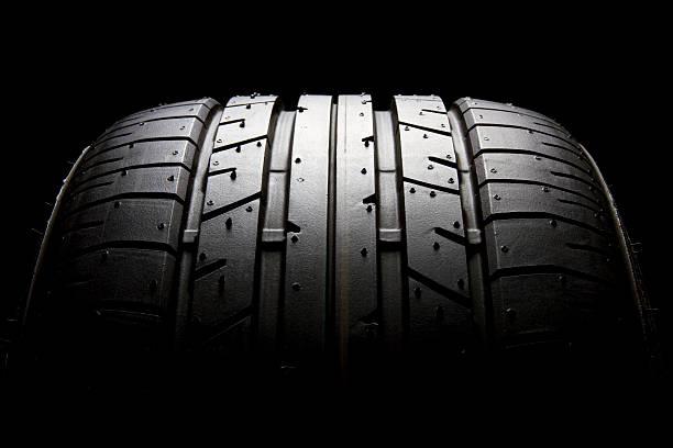 sports car tyre profile close-up - wheel black background bildbanksfoton och bilder