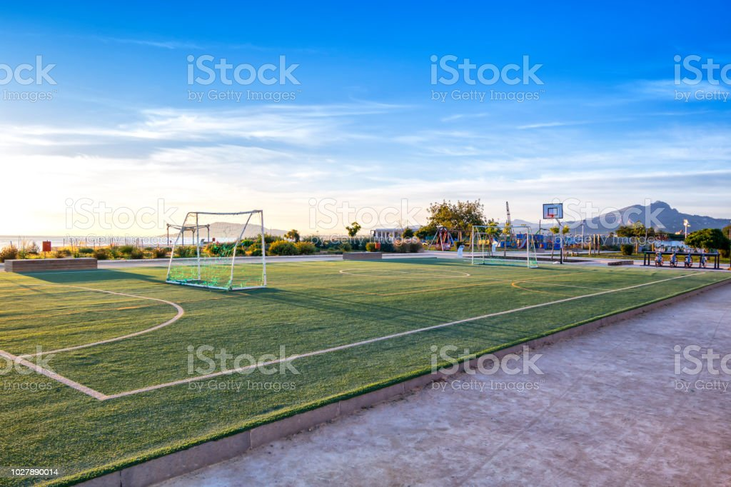 Photo of a sports court located at Palermo\'s coastline.