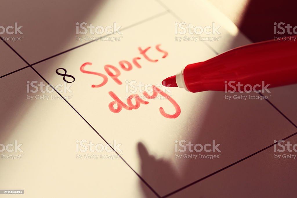 Sports Day' appointment marked on calendar stock photo