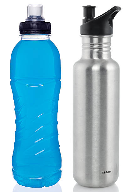 sports drink and steel bottle - plastic cap stock pictures, royalty-free photos & images