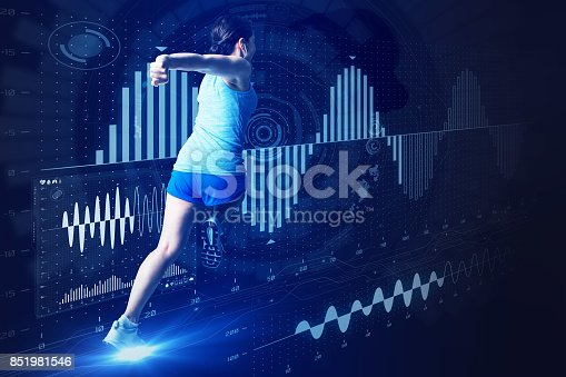 istock sports engineering concept. running woman and various vital information. 851981546