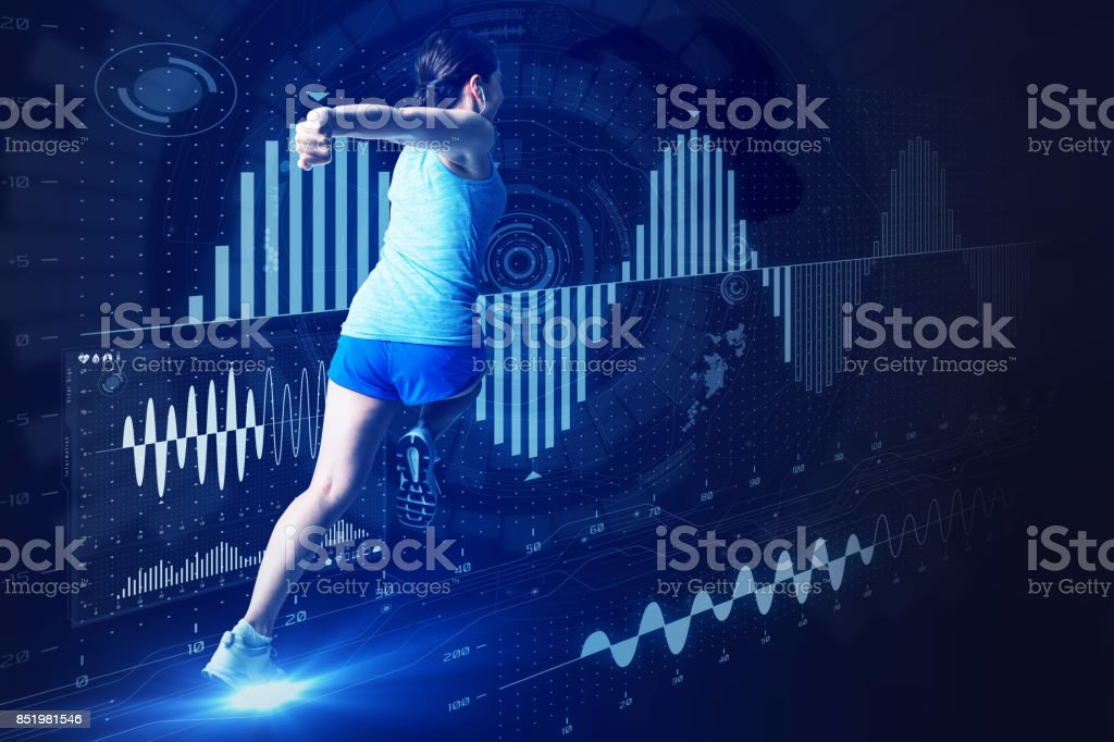 sports engineering concept. running woman and various vital information. stock photo