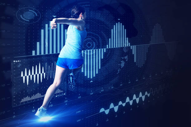 sports engineering concept. running woman and various vital information. - sports medicine stock photos and pictures