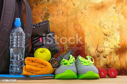 istock Sports equipment against the wall 479647326