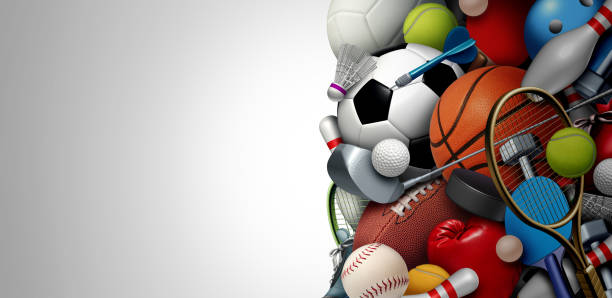 Sports Equipment Background Sports equipment background with a football basketball baseball soccer tennis and golf ball including ping pong tennis hockey puck as healthy recreation including copy space with 3D illustration elements. sport stock pictures, royalty-free photos & images