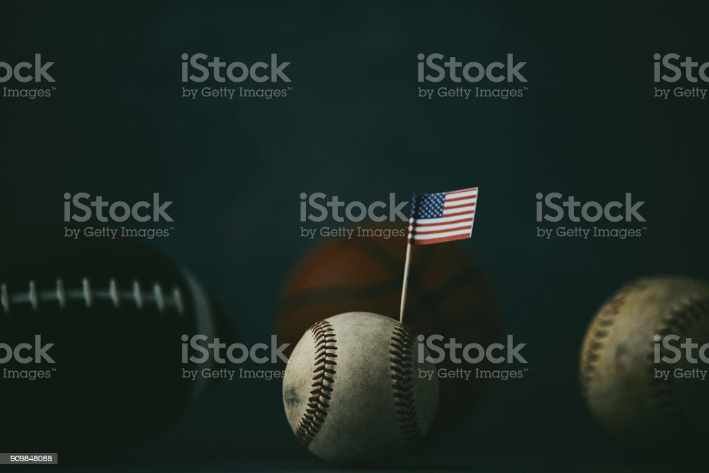 Sports Equipment. Baseball, football, basketball and softball still...