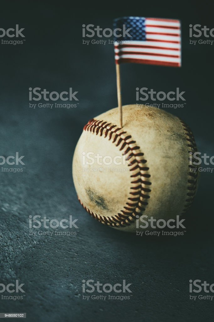 Sports Equipment. Baseball still life, ball with American flag