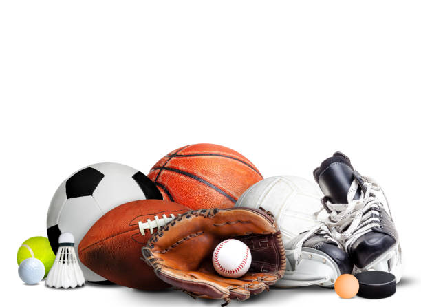 Sports Equipment For All Seasons Isolated on White Background Sports equipment, rackets and balls for all seasons isolated on white background and copy space. baseball sport stock pictures, royalty-free photos & images