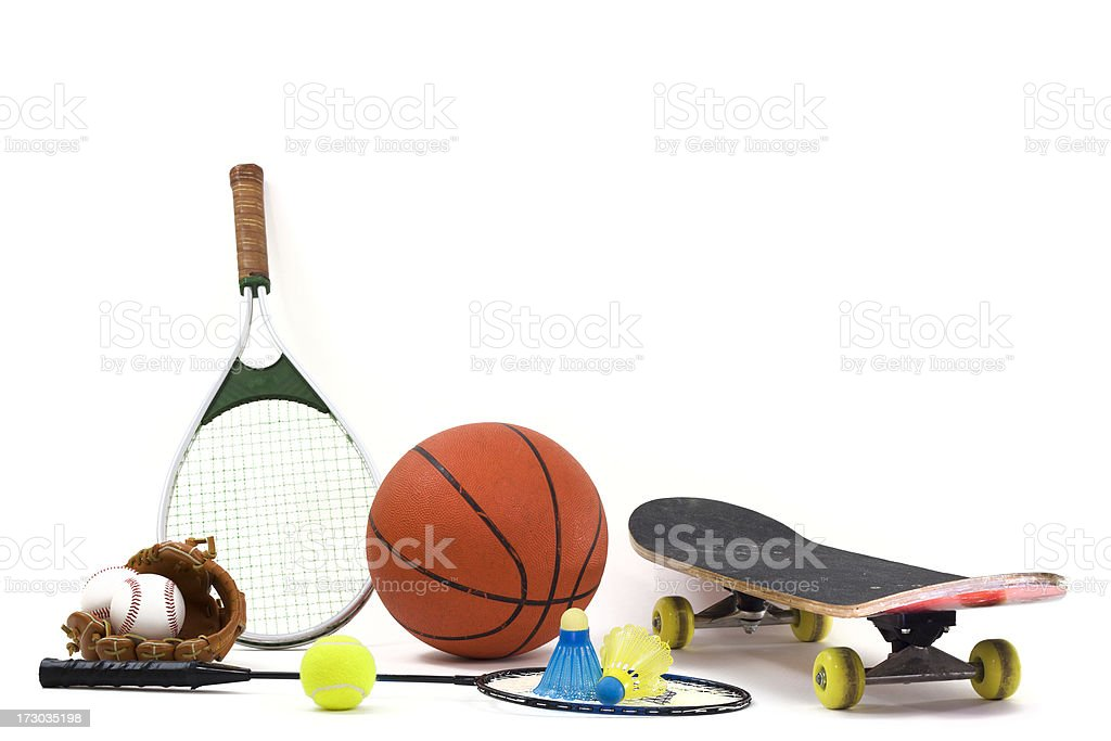 Sports Equipment On a White Background royalty-free stock photo