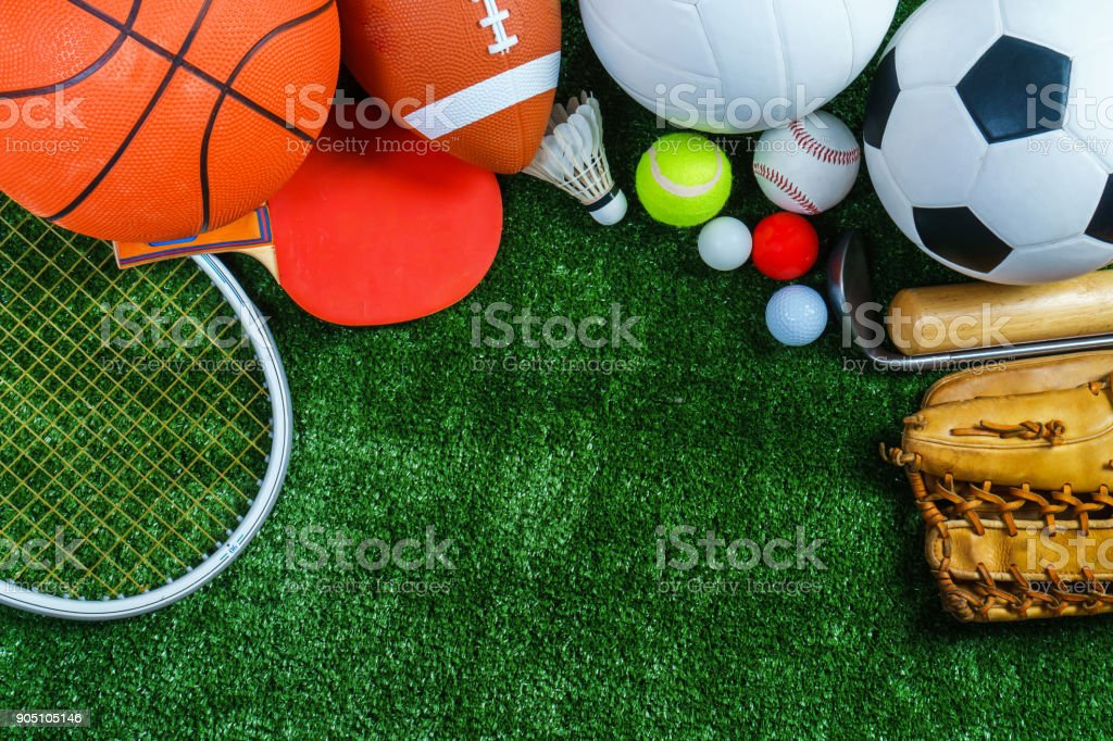 Sports Equipment on green grass, Top view - foto stock