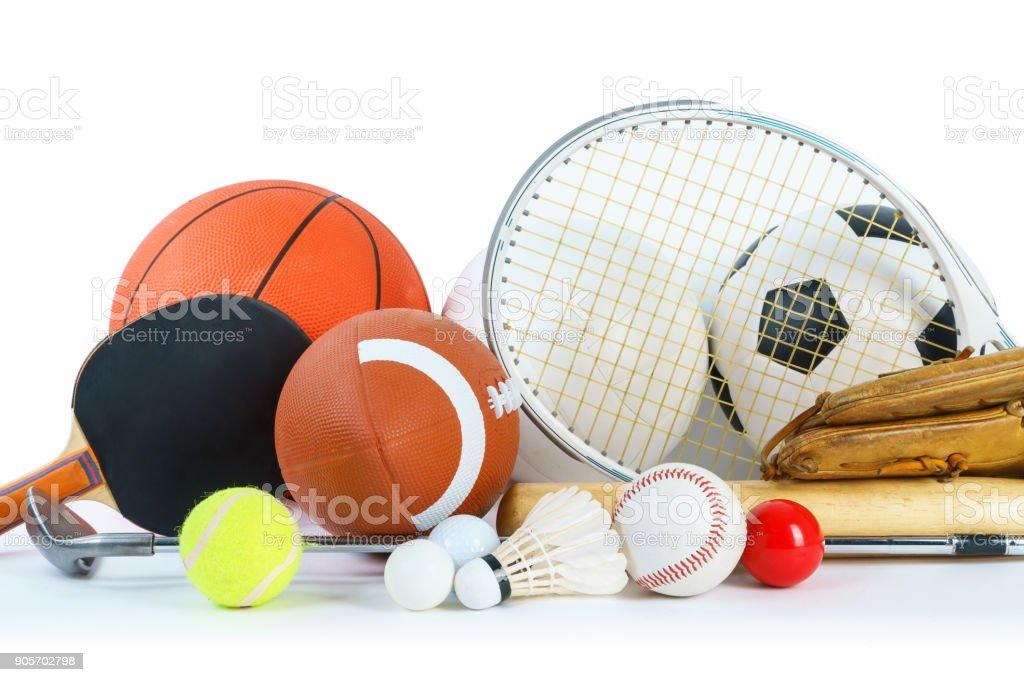 Sports Equipment on white background stock photo