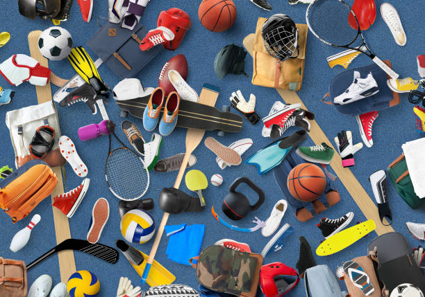 Sports equipment Sports equipment and clothing are scattered in the gym hobbies stock pictures, royalty-free photos & images