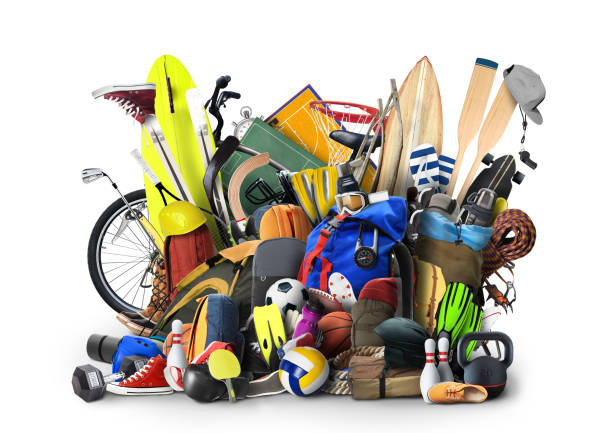 Sports equipment Sports equipment has fallen down in a heap hobbies stock pictures, royalty-free photos & images
