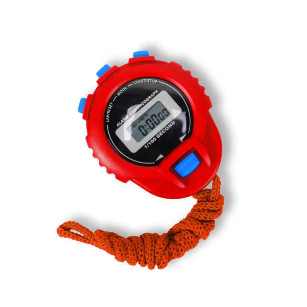 sportartikelen - red stopwatch. geïsoleerd - stopwatch stockfoto's en -beelden