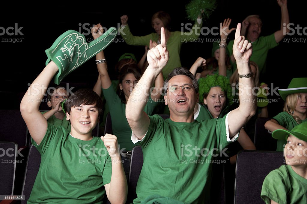 Sports Fans: Adults Children Cheering Spectators Event Team Color Green royalty-free stock photo