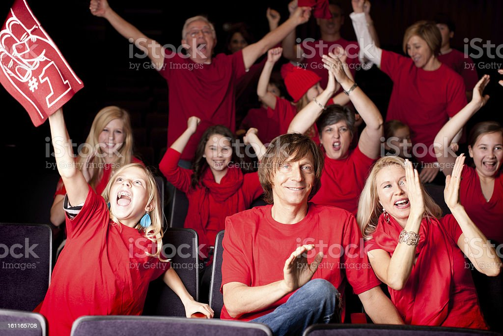 Sports Fans: Adults Children Excited Spectators Team Color Red royalty-free stock photo