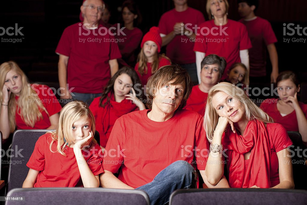 Sports Fans: Adults Children Frustrated Spectators  Team Color Red stock photo