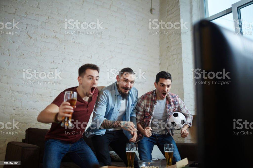 Sports Fans Celebrating Goal - foto de acervo