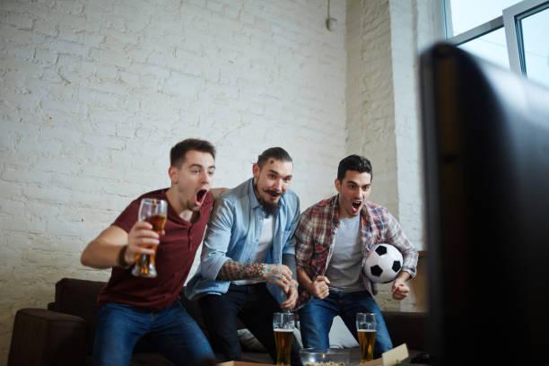 Sports Fans Celebrating Goal stock photo