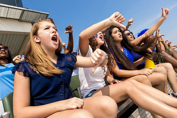 Sports fans cheering and booing opposing team in stadium stock photo