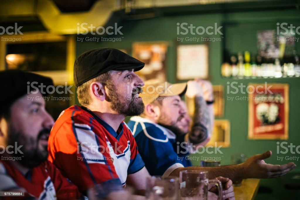 Sports fans enjoying the game stock photo