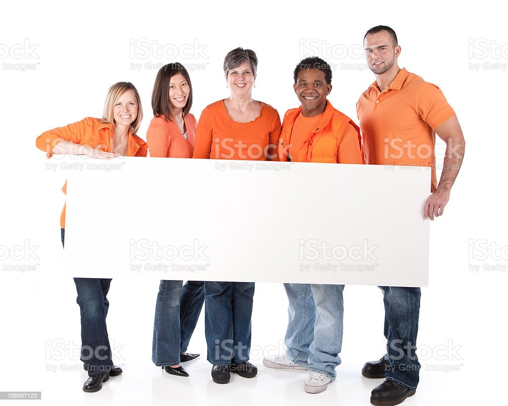Sports Fans: Group Diverse Adults Holding Sign Team Orange royalty-free stock photo