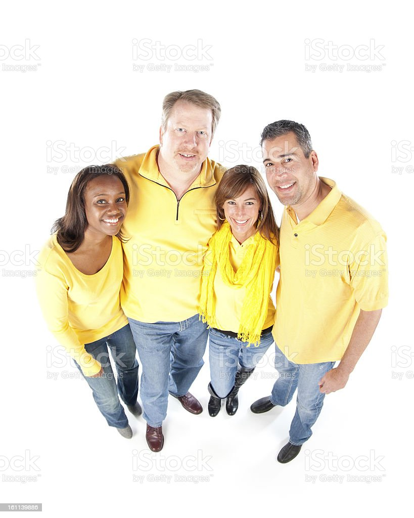 Sports Fans: Group Diverse Adults Together Top View Team Yellow royalty-free stock photo