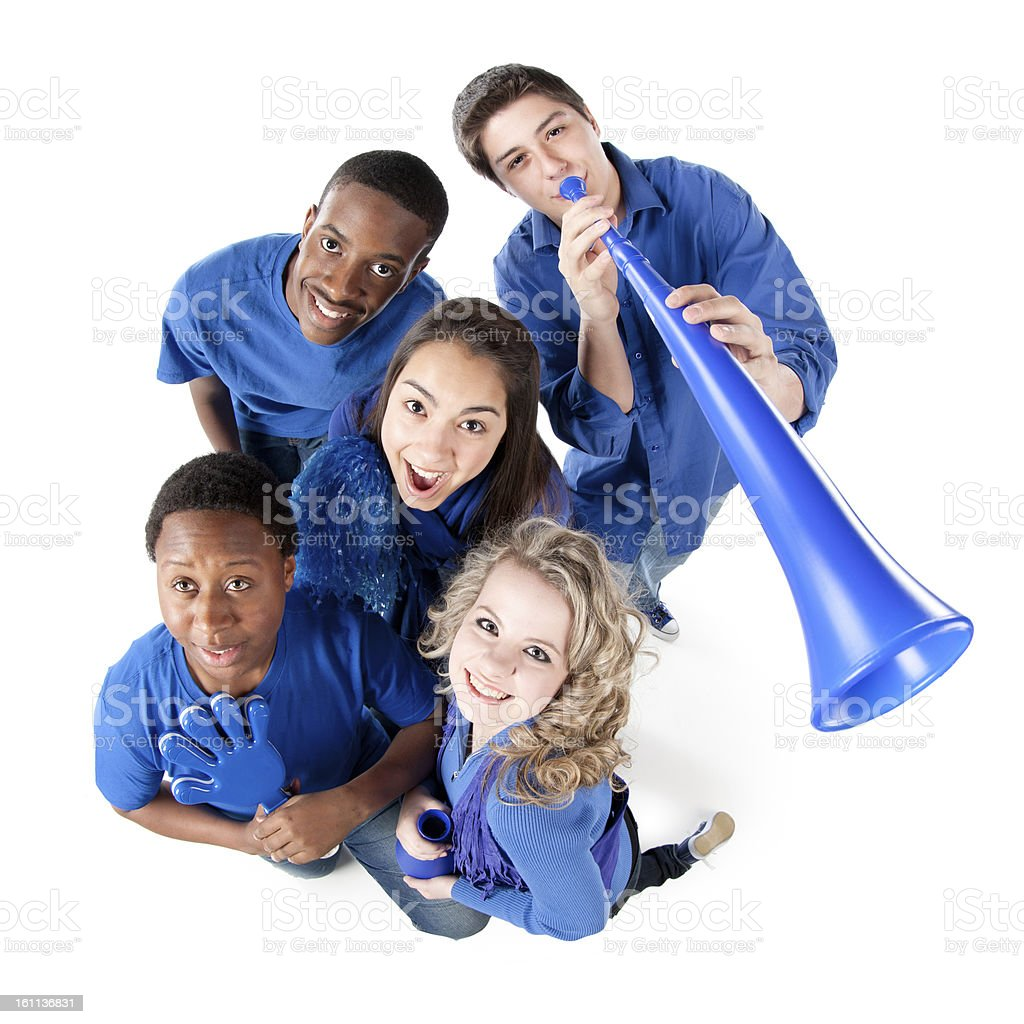 Sports Fans: Group Smiling Teenagers Cheering Together Friendship royalty-free stock photo