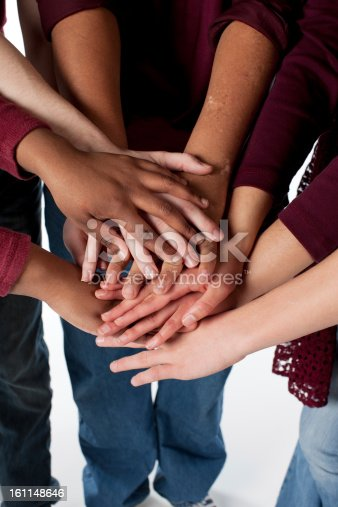 istock Sports Fans: Group Teenagers Diverse Hands Together Team Maroon 161148646