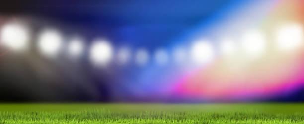 Sport Bereich Flutlicht unscharf 3d Rendering im Hintergrund – Foto