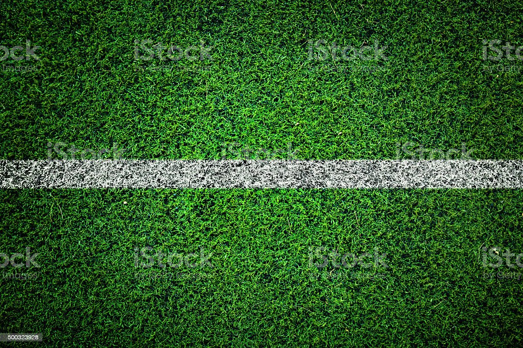 Sports field with white line stock photo
