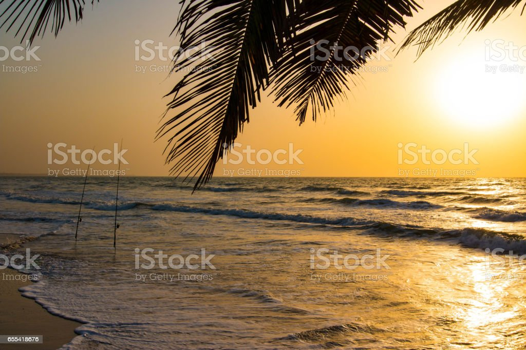 Sports fishing in the Atlantic Ocean in the Gambia, West Africa stock photo