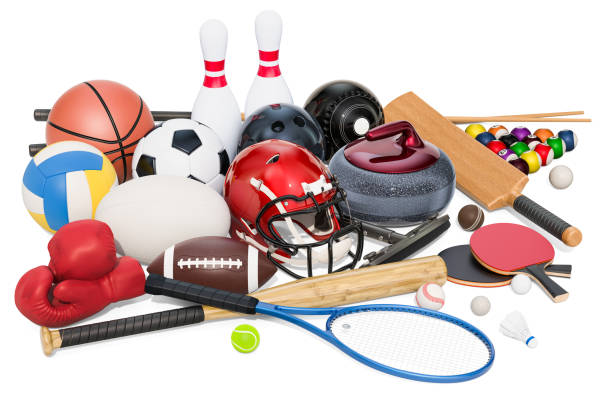 Sports game equipment. 3D rendering isolated on white background stock photo