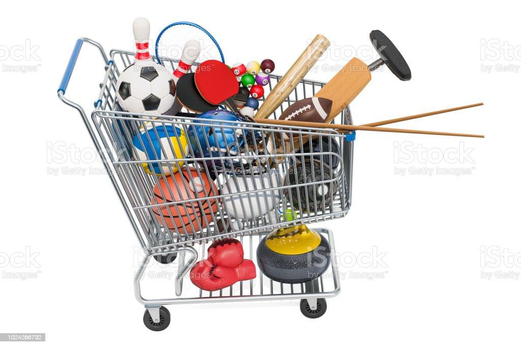 02b423391 Esportes jogo equipamento no carrinho de compras. Renderização 3D foto  royalty-free