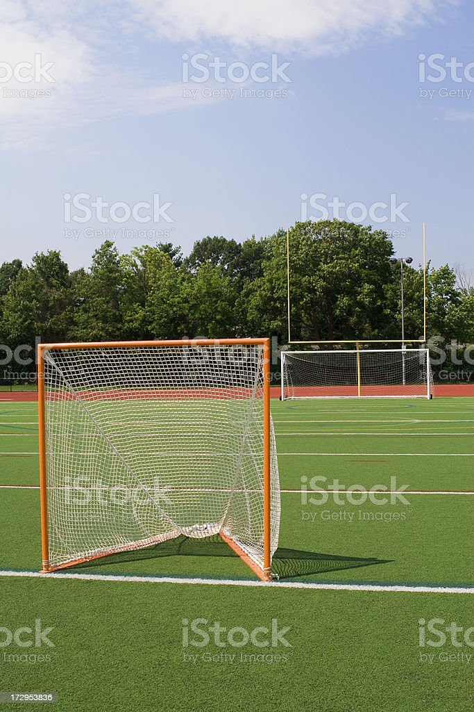 Sports goal nets and posts, lacrosse, soccer, football royalty-free stock photo