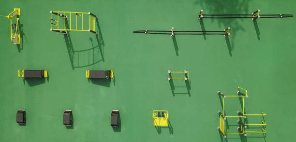sports ground top view, sports lifestyle concept. - horizontal bar stock photos and pictures