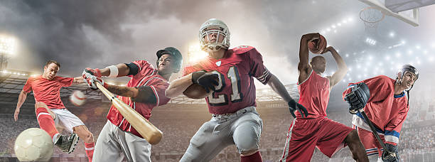 Sports Heroes Composite image of sporting athletes in action – soccer player kicking football, baseball player swinging bat to strike baseball, American football player running and holding ball, basketball player jumping with basketball above his head, and ice hockey player holding stick. Backgrounds are generic floodlit arenas and stadiums appropriate to each sport.  baseball sport stock pictures, royalty-free photos & images